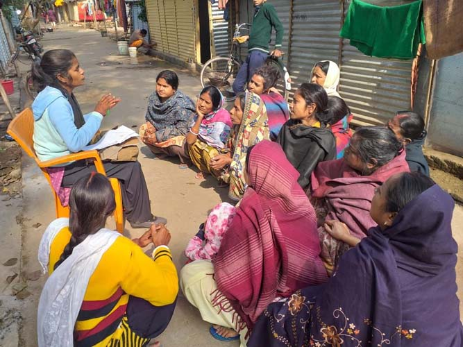 Meeting of women in the slums